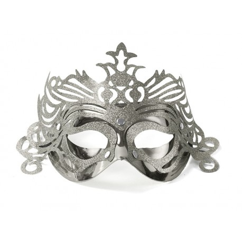 Maska party z ornamenten, srebrny