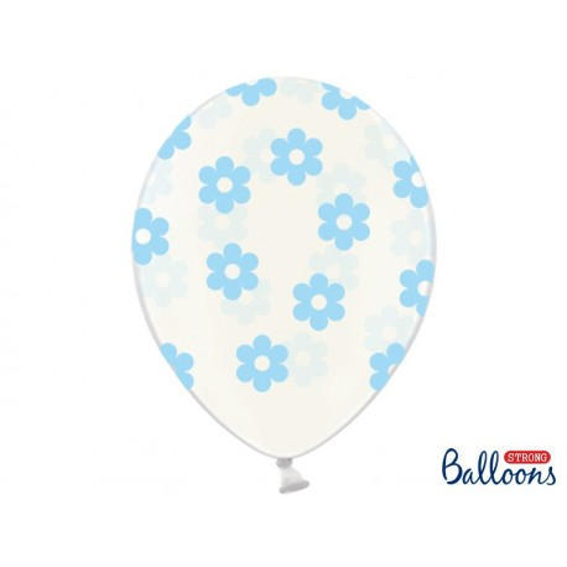 Balony 35 cm, Kwiatki, Crystal Clear
