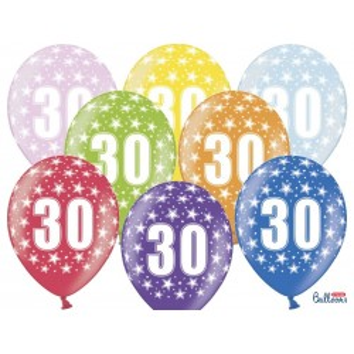 Balony 35 cm, 30th Birthday, Metallic Mix