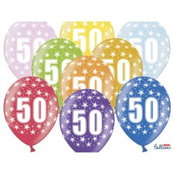 Balony 35 cm, 50th Birthday, Metallic Mix