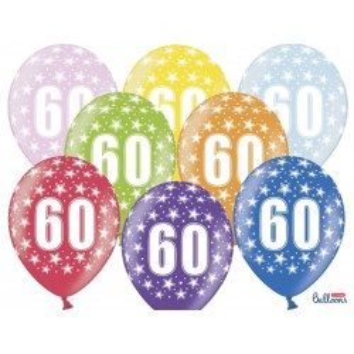 Balony 35 cm, 60th Birthday, Metallic Mix