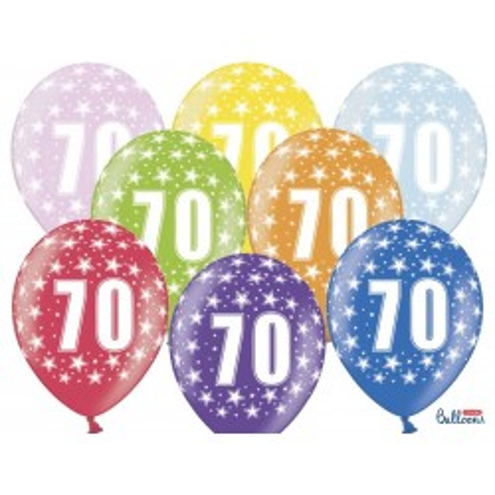 Balony 35 cm, 70th Birthday, Metallic Mix