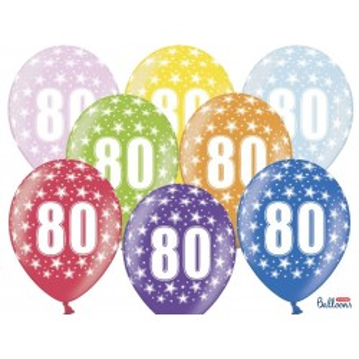 Balony 35 cm, 80th Birthday, Metallic Mix