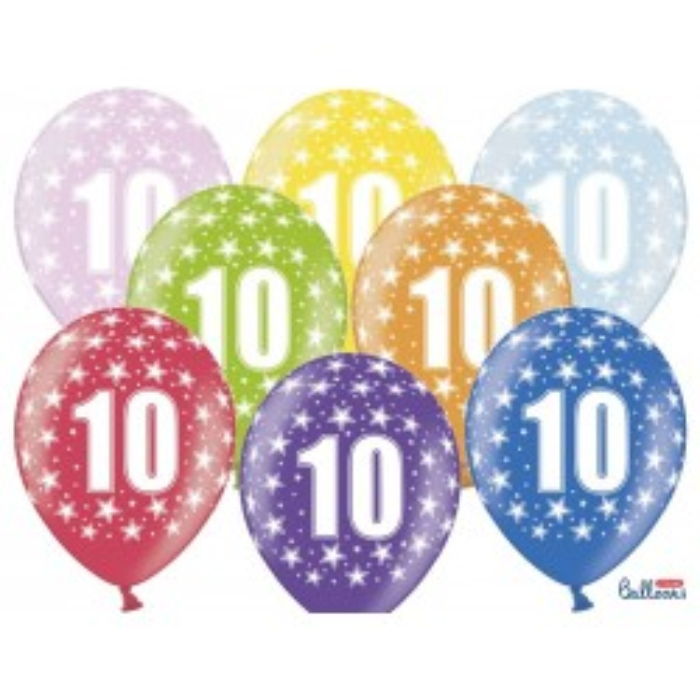 Balony 35 cm, 10th Birthday, Metallic Mix