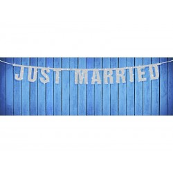 Baner Just Married, srebrny, 18 x 170cm