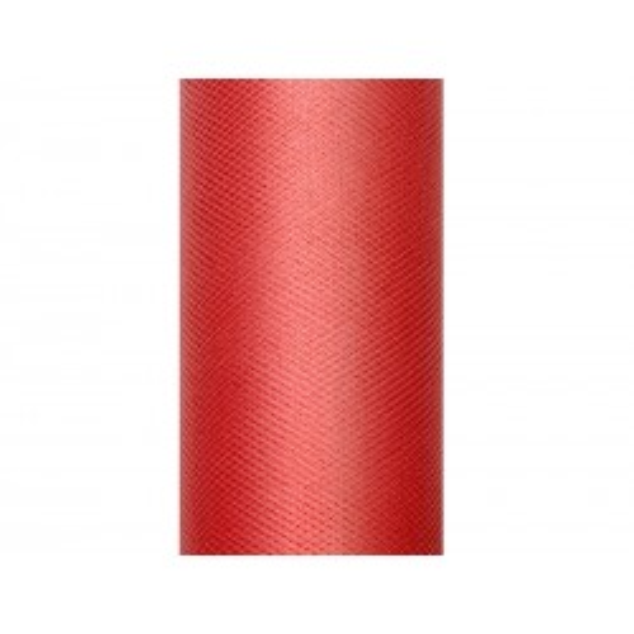 Tiul gładki, czerwony, 0,15 x 9m