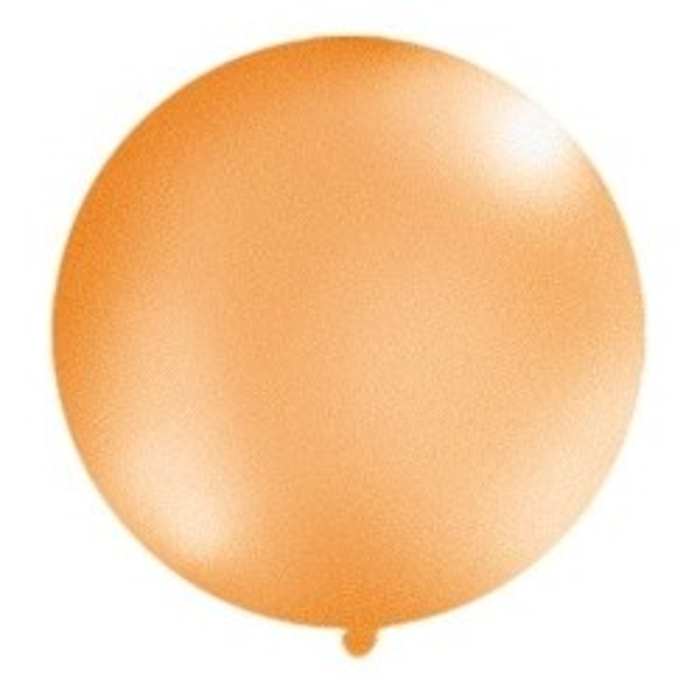 Balon 1m, okrągły, Metallic pomarańcz