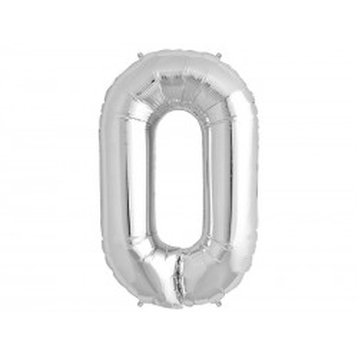 """Balon foliowy 34"""" Cyfra 0, srebrny"""