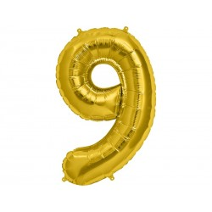 """Balon foliowy 34"""" Cyfra 9, złoty"""