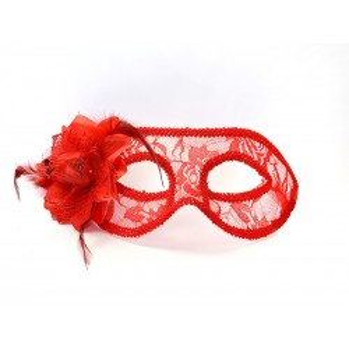 Maska party, koronkowa z różą, czerwony