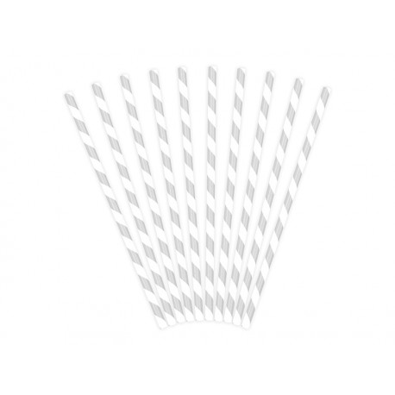 Słomki papierowe, srebrny, 19,5cm