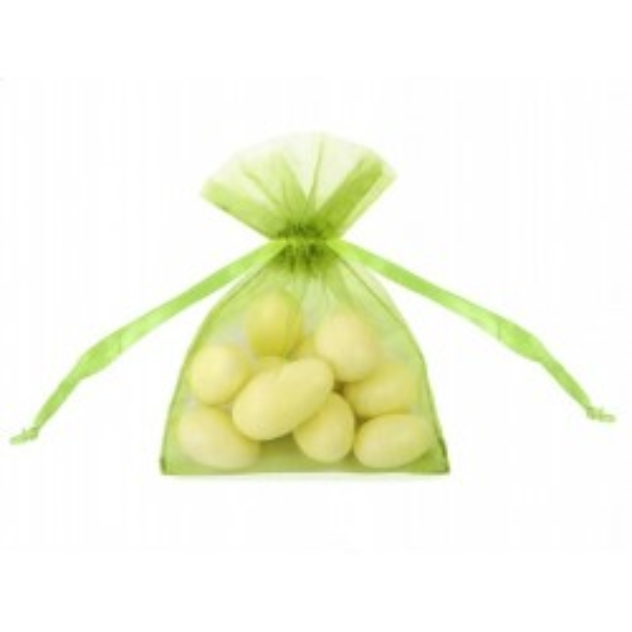 Woreczki z organzy - zielone jabłuszko - 7,5x10cm - 10 sztuk