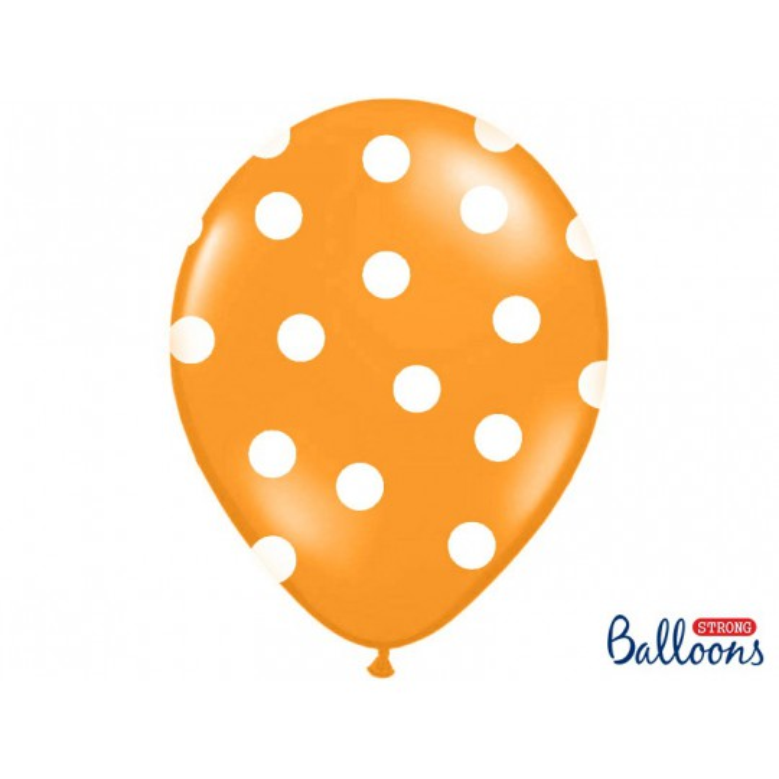 Balony 35 cm, Kropki, Pastel M. Orange