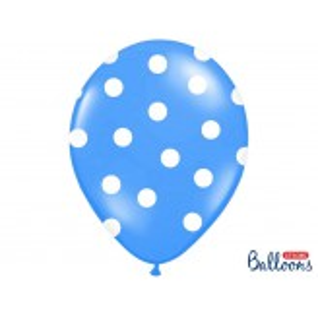 Balony 35 cm, Kropki, Pastel Corn. Blue
