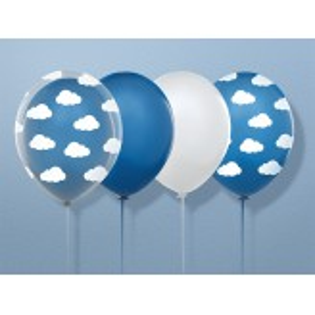 Balony 35 cm, Chmurki, Pastel Corn. Blue