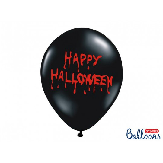 Balony 35 cm, Happy Halloween, Pastel Black
