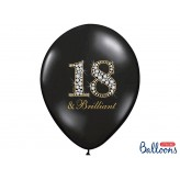 Balony 35 cm, 18 & Brilliant, Pastel Black