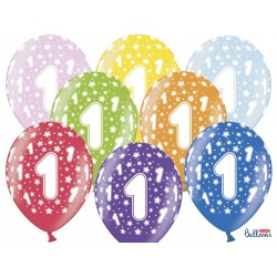 Balony 35 cm, 1st Birthday, Metallic Mix