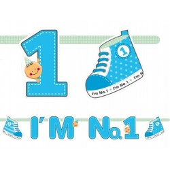 Baner I'm No. 1, niebieski, 110cm