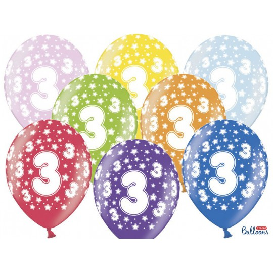 Balony 35 cm, 3rd Birthday, Metallic Mix