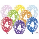 Balony 35 cm, 4th Birthday, Metallic Mix