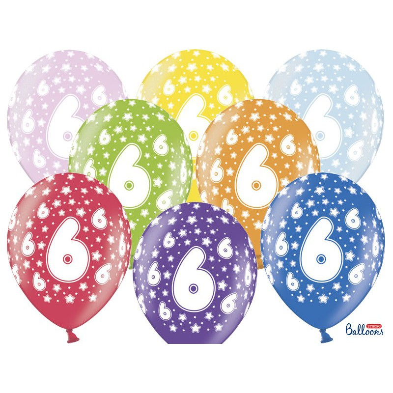 Balony 35 cm, 6th Birthday, Metallic Mix