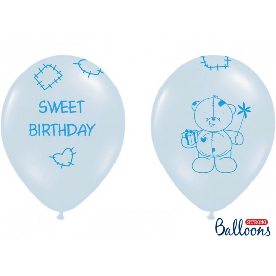 Balony 35 cm, Sweet Birthday, Pastel Blue