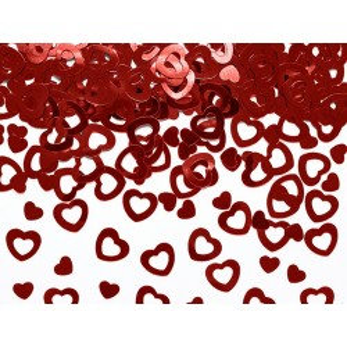 Konfetti metalizowane Serca, czerwony, 15g