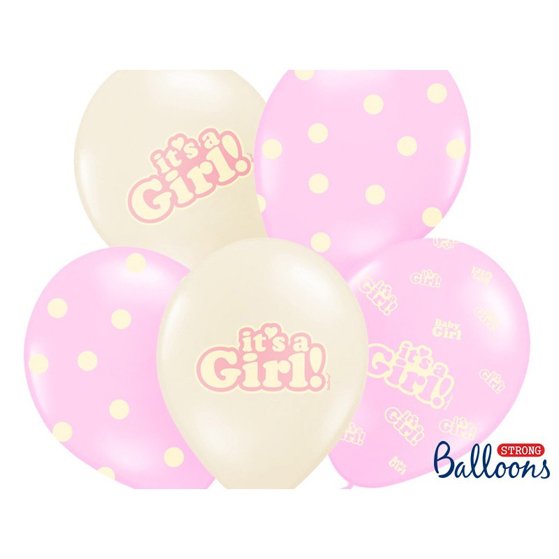 Balony 35 cm, It's a Girl, Pastel Mix