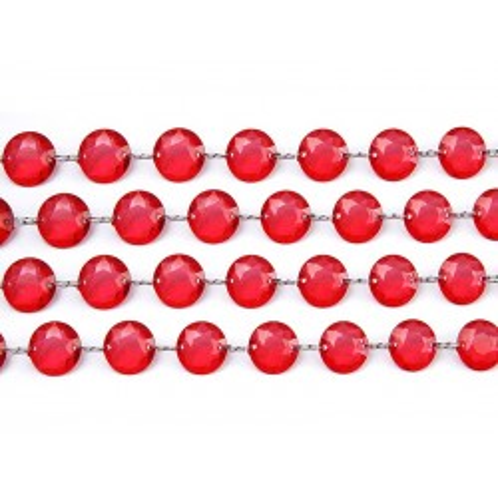 Girlanda kryształowa, czerwony, 1m