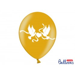Balony 35 cm, Gołąbki, Metallic Gold