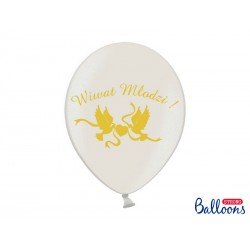 Balony 35 cm, Wiwat Młodzi!, Metallic White
