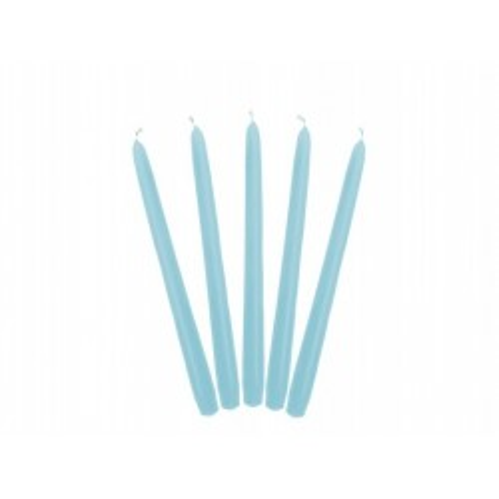Świeca stożkowa matowa, błękit, 24cm