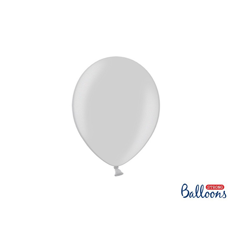 Balony 25 cm, Metallic Silver Snow