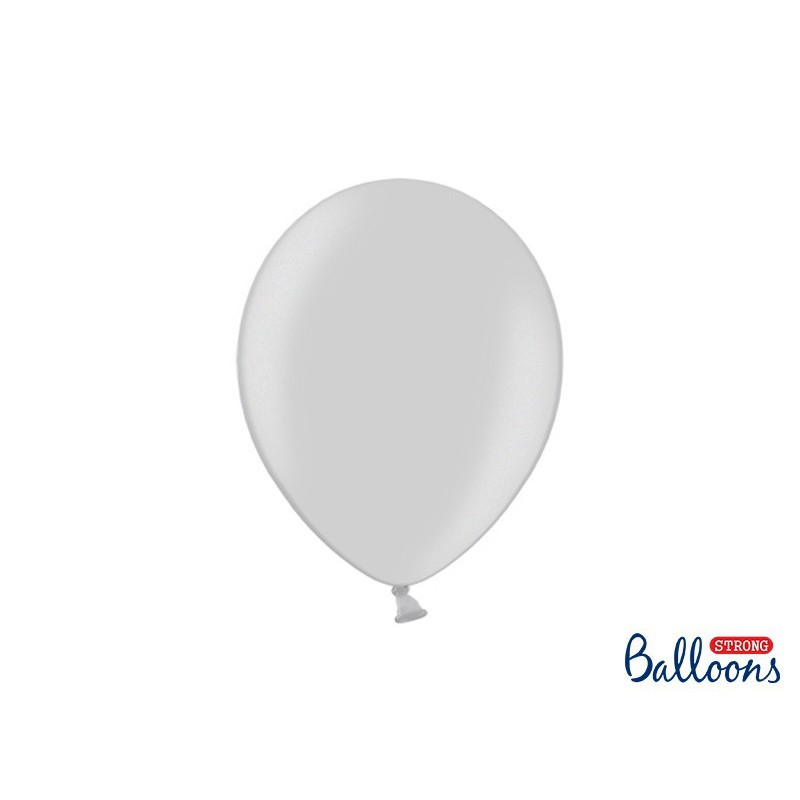 Balony 30 cm, Metallic Silver Snow