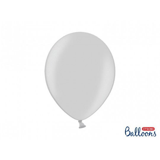 Balony 35 cm, Metallic Silver Snow
