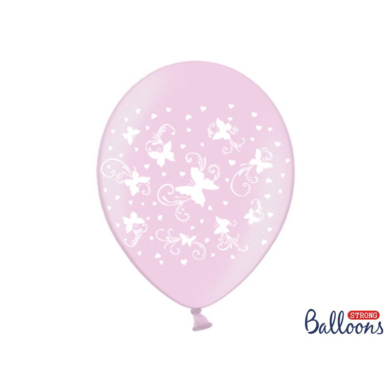 Balony 35 cm, Motylki, Metallic Candy Pink