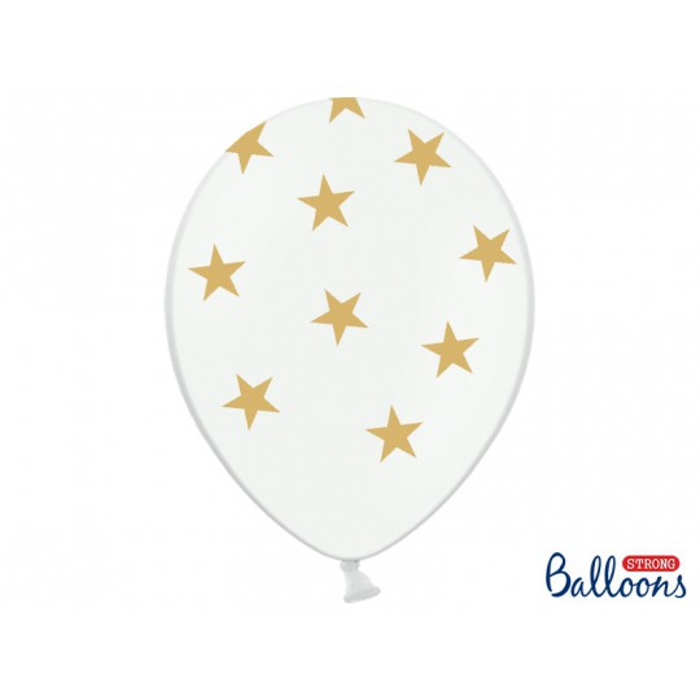 Balony 35 cm, Gwiazdki, Pastel Pure White
