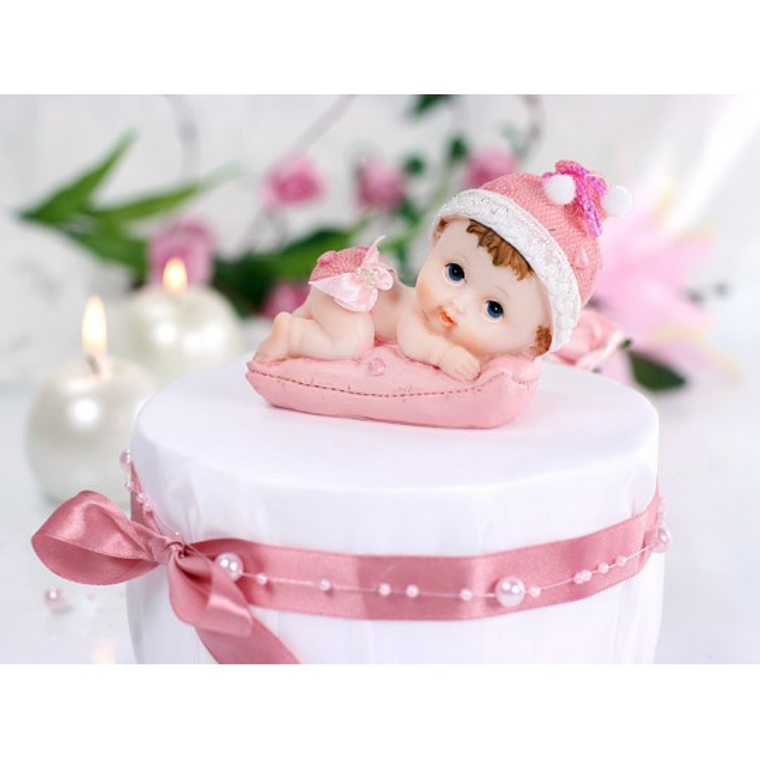 Figurka Dziewczynka z poduszką, różowy, 9cm