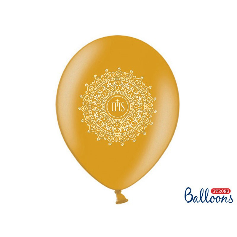 Balony 35 cm, IHS, Metallic Gold