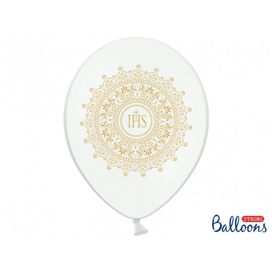 Balony 35 cm, IHS, Metallic Pure White