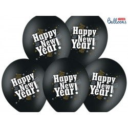 Balony 35 cm, Happy New Year, M. Black