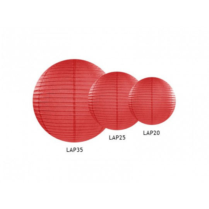 Lampion papierowy, czerwony, 20cm