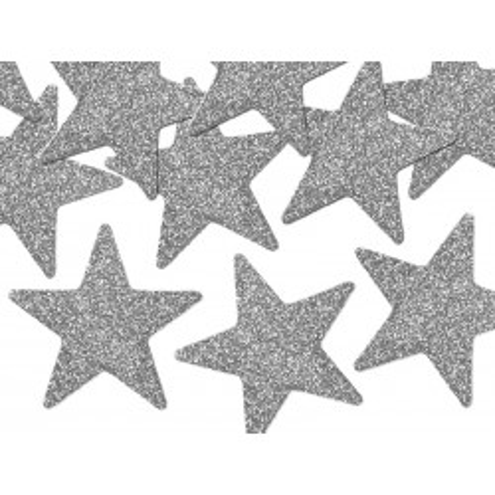 Dekoracje brokatowe Gwiazdka, srebrny, 5cm