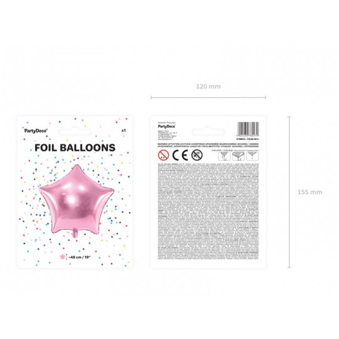 Balon foliowy Gwiazdka, 48cm, jasny różowy