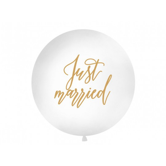 Balon 1 m, Just married, biały