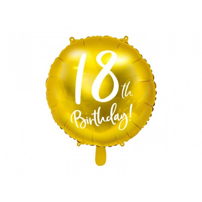 Balon foliowy 18th Birthday, złoty, średnica 45cm