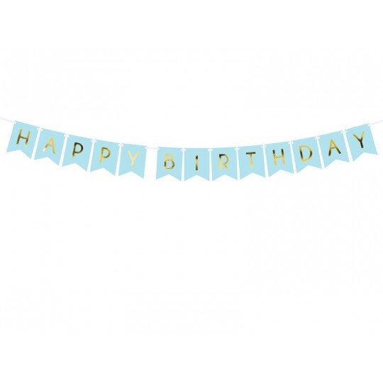 Baner Happy Birthday, j. niebieski, 15 x 175 cm