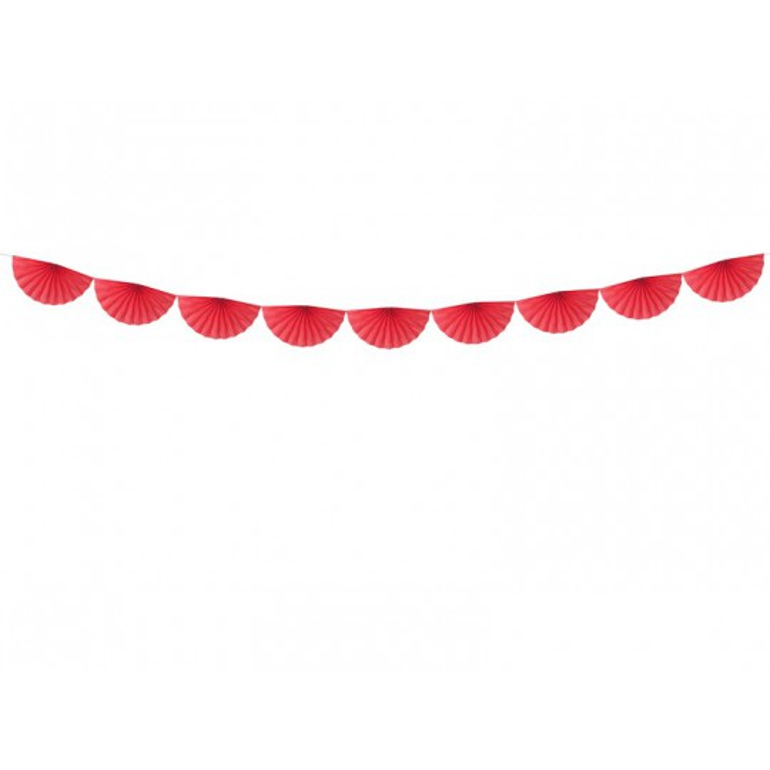 Girlanda bibułowa Rozety, czerwony, 3m
