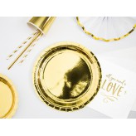 Talerzyki okrągłe, złoty, 23cm (1 op. / 6 szt.)